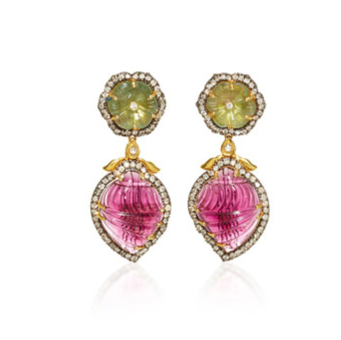 AMRAPALI 18K Gold Tourmaline Earrings