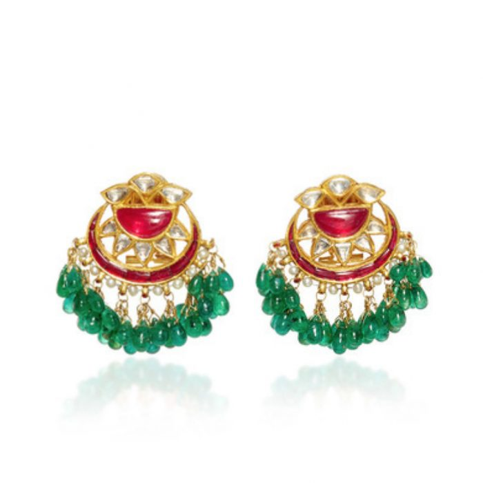 AMRAPALI 18K Gold Diamonds, Emeralds&Rubies Earrings