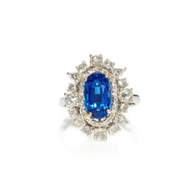 AMRAPALI 18K Gold Diamonds & Kyanite Ring