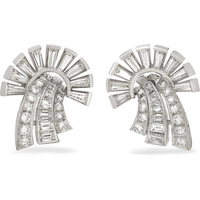FRED LEIGHTON 1950s Platinum Diamond Clip Earrings