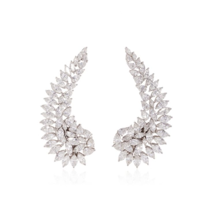 VANLELES 18K White Gold Bridal Wings Earrings