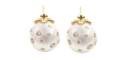 Samira 13's Scattered Diamond Earrings With South Sea Pearls