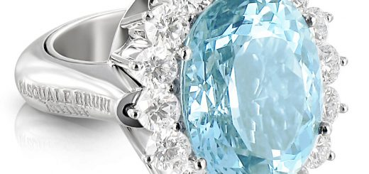 Atelier ring in 18k white gold with aquamarine and diamonds