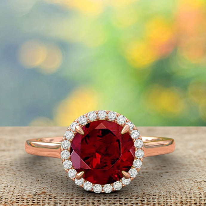 Cathedral Round Garnet and Diamond Halo Ring