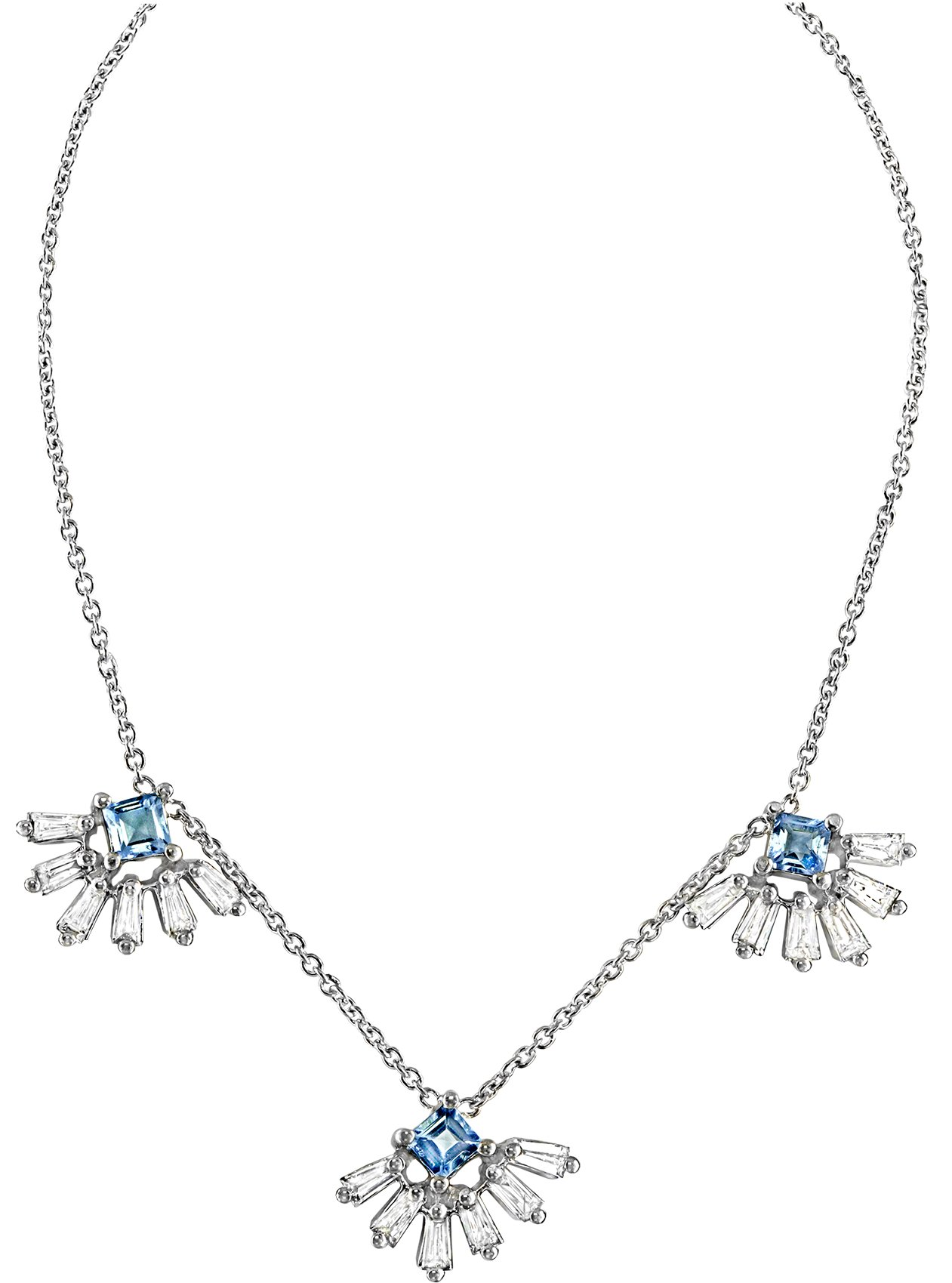 Kela necklace in 18k white gold with 0.75 ct. t.w. aquamarine and 1.1 cts. t.w. diamonds, $2,640